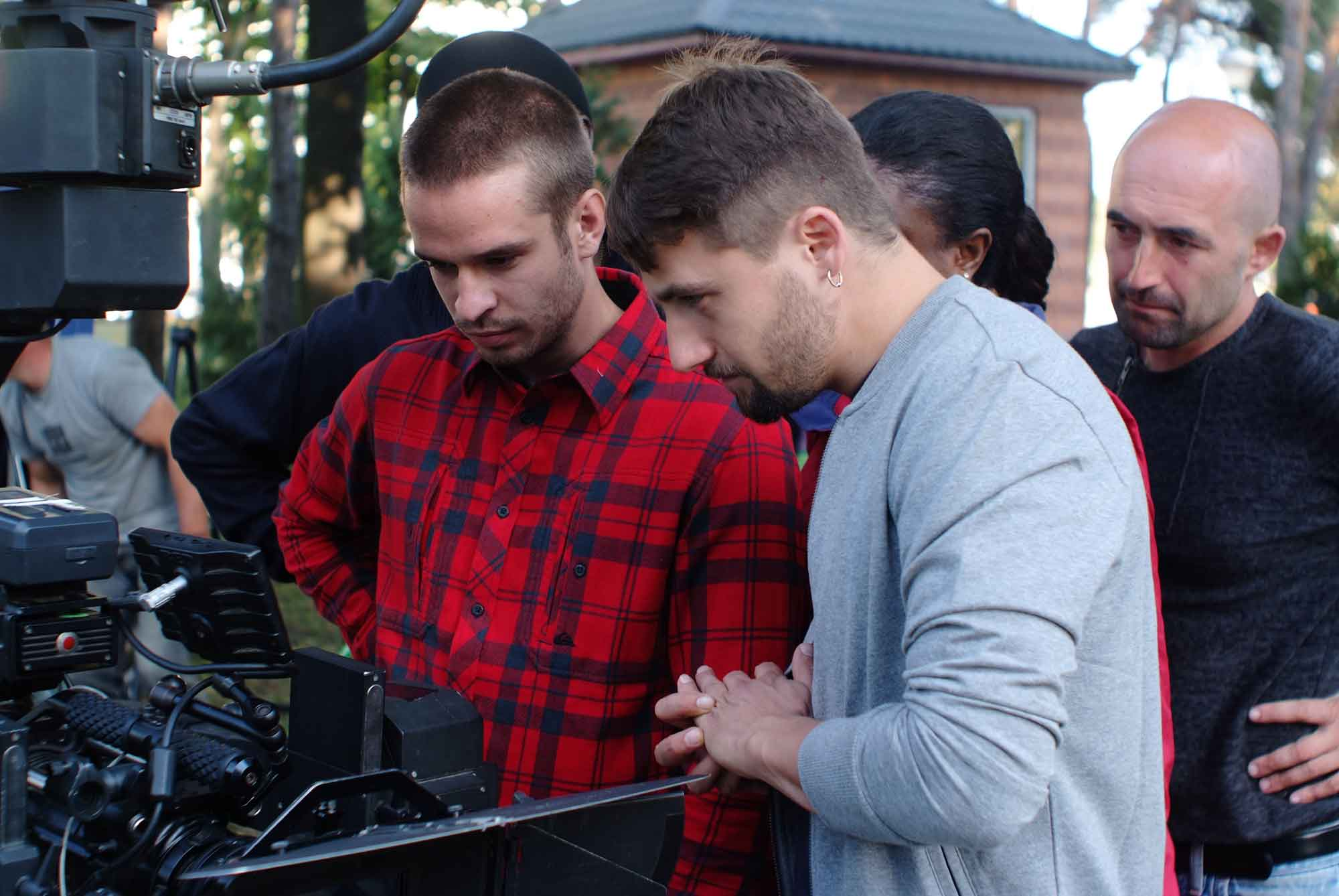 Andrew Rozhen (Director) and Dmitriy Nedria (DOP): Reviewing shot (playback) of scene
